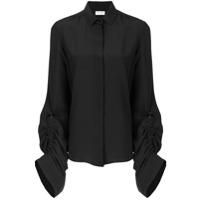 Saint Laurent Camisa De Seda Com Mangas Oversized - Preto
