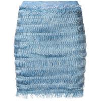 Balmain Saia Lápis Com Franjas - Azul