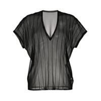 Jean Paul Knott Camiseta Translúcida Com Listras - Preto