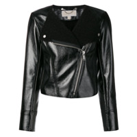 Michael Michael Kors Round Neck Fitted Jacket - Preto