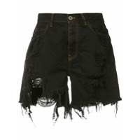 Faith Connexion Shorts Jeans Com Puído - Preto