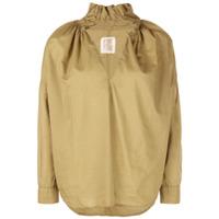 A Shirt Thing Frilled Collar Split Neck Shirt - Green