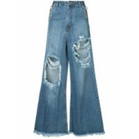 Pony Stone Calça Jeans Com Recortes - Azul