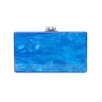 Edie Parker Clutch Efeito Mármore - Azul