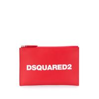 Dsquared2 Clutch Com Logo E Zíper - Vermelho