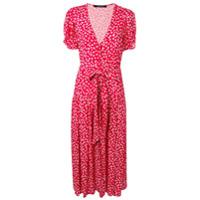 Andamane Vestido Midi Com Estampa Floral - Vermelho