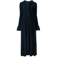 Stella Mccartney Vestido De Seda Com Pregas E Babados - Azul