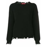 Guardaroba Suéter Com Detalhes Puídos - Preto