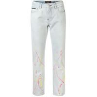 Philipp Plein Calça Jeans Cropped Cintura Alta Com Estampa - Azul