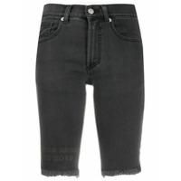 Artica Arbox Short Jeans Com Barra Desfiada - Preto