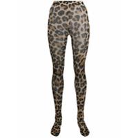 Junya Watanabe Meia-Calça Cintura Alta Com Estampa De Leopardo - Marrom