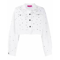 Ireneisgood Jaqueta Jeans Cropped Com Aplicações - Branco