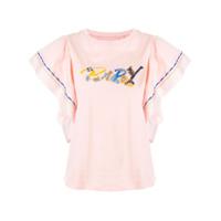 Bapy By *a Bathing Ape® Camiseta Floral Com Logo Bordado - Rosa