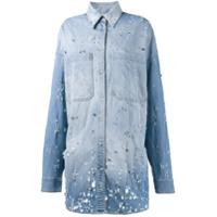 Faith Connexion Camisa Jeans Com Aplicações - Azul