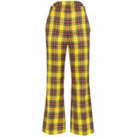 Pushbutton Calça Cropped Xadrez - Amarelo