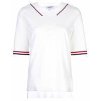 Thom Browne Camisa Polo Com Detalhe De Listras - Branco