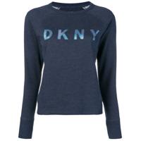 Dkny Blusa De Moletom Com Logo Frontal - Azul