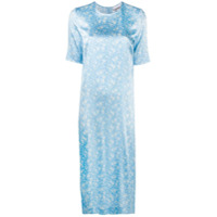 Ganni Vestido Reto Com Estampa Floral - Azul