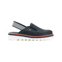 Tommy Hilfiger Sapato De Couro Com Abertura Traseira - Azul