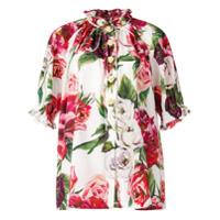 Dolce & Gabbana Camisa Com Gola Oriental E Estampa 'peony' - Rosa