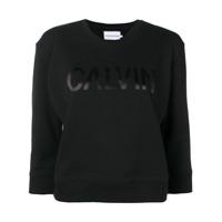 Calvin Klein Jeans Cropped Logo Print Sweatshirt - Preto