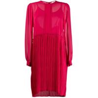 Semicouture Vestido Translúcido Com Pregas - Rosa