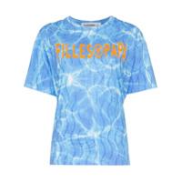 Filles A Papa Camiseta Splash Com Logo E Cristais - Azul