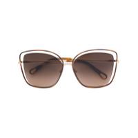 Chloé Eyewear Óculos De Sol Oversized - Metálico