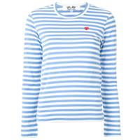 Comme Des Garçons Play Blusa Com Estampa De Listras E Logo - Azul