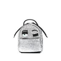 Chiara Ferragni Zaino Mini Glitter Backpack - Prateado