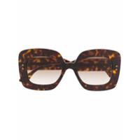 Bottega Veneta Eyewear Óculos De Sol Quadrado - Marrom