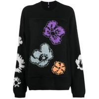 Mcq Suéter Com Estampa Floral - Preto