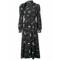 Co Vestido De Seda Com Estampa - Preto