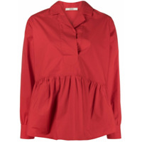 Odeeh Tiered Style Curved Hem Shirt - Vermelho