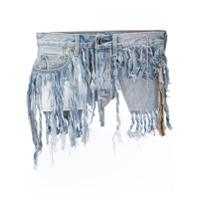 Neith Nyer Cinto Jeans Com Franjas - Azul