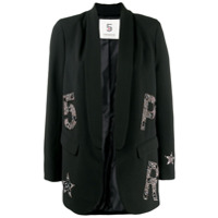 5 Progress Crystal Embellished Logo Blazer - Preto