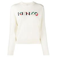 Kenzo Suéter Com Logo Bordado - Branco