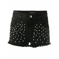 Pinko Short Jeans Com Aplicação De Cristais - Preto