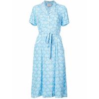 Hvn Vestido Floral Com Cinto - Azul
