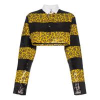Charm's Camisa Cropped Com Estampa Leopardo - Amarelo