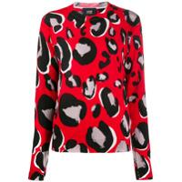 Cavalli Class Suéter Decote Careca Com Animal Print - Vermelho