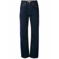 Calvin Klein Jeans Calça Jeans Reta Com Listras Lateral - Azul