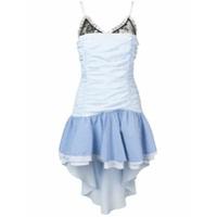 Gina Vestido Com Renda E Babados - Azul