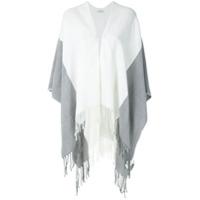 Le Lis Blanc Poncho De Tricô Bicolor - Branco