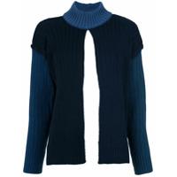 À La Garçonne Blusa De Tricô Fenda Lateral - Azul