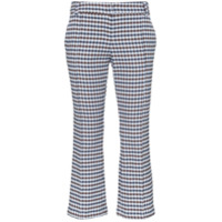 Silvia Tcherassi Leira Checked Cropped Trousers - Azul