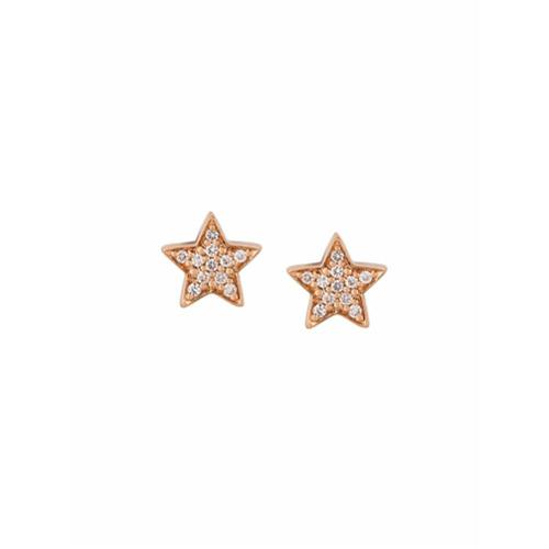 Imagem de Alinka Par de brincos de ouro rosa 18k com diamantes - Metálico