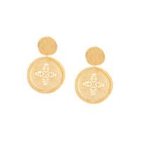 Kenneth Jay Lane Carved Coin Drop Earrings - Dourado