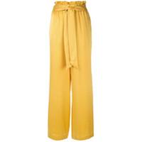 Asceno Calça Pantalona De Cetim - Amarelo