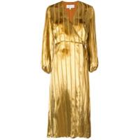 Michelle Mason Vestido Midi Com Pregas - Dourado